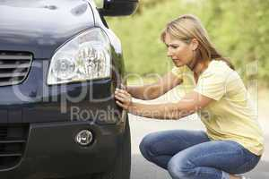 Female Driver Broken Down On Country Road