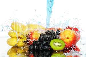 Pure fruit in a spray of water