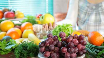 Fruits and vegetables in kitchen