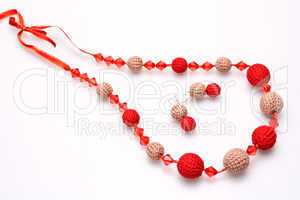 necklace of beads knitted