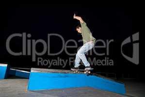 Skateboarder on a slide