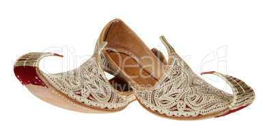 Traditional Arabic shoes over white