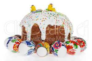 Russian Easter cake and colourful easter eggs isolated