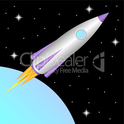 Rocket in space.