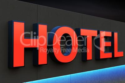 Hotel illuminated advertising