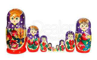 Russian nest-dolls on the white background