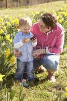 Mother And Son On Easter Egg Hunt In Daffodil Field