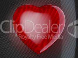 Red heart shape on carbon fiber
