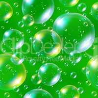 Seamless soap bubbles on green background.