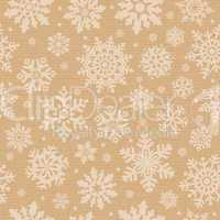 Seamless pattern with snowflake on packing cardboard background.