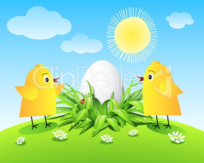 Chickens and egg on green grass, sun, sky and clouds.eps