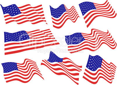 American flags.