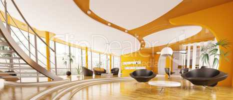 Interior design  of modern apartment panorama 3d render