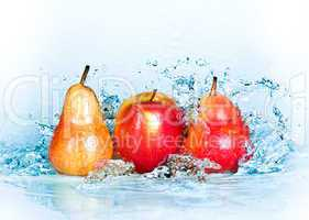 Apple, pear and water