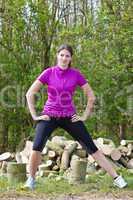 Beautiful woman in sportswear outdoors