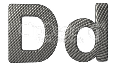 Carbon fiber font D lowercase and capital letters