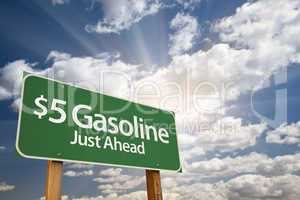 $5 Gasoline Green Road Sign and Clouds