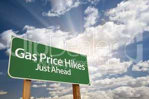 Gas Price Hikes Green Road Sign and Clouds