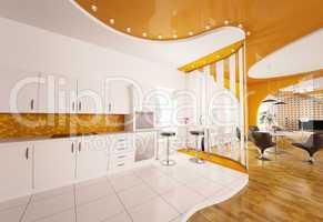 Interior design of modern kitchen 3d render