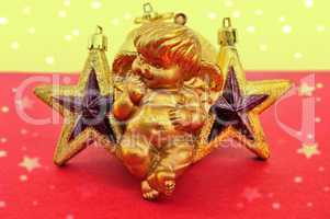 cupid and golden xmas stars