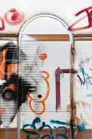 graffiti on trailer door
