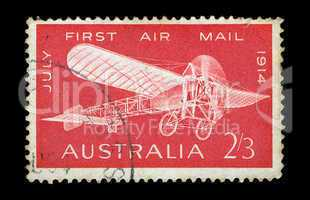 monoplane vintage postage stamp