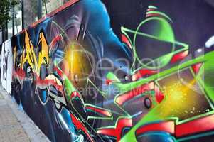 wall with colorful graffiti
