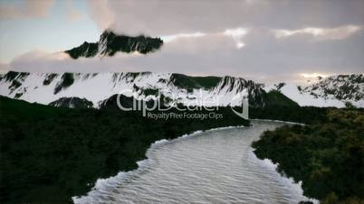 (1237) Sunrise Winter Wilderness Snow Mountains Frozen River Seasons Aerial Nature Exploration