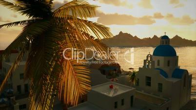1234 Romantic Mediterranean Greek Coastal Village Travel Background Sunset Ocean View