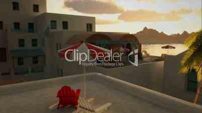 (1236) Romantic Mediterranean Greek Coastal Village Travel Background Sunset Ocean View