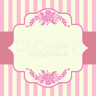 Vintage roses pink frame