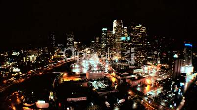 Elevated Time-lapse View of Los Angeles at Night