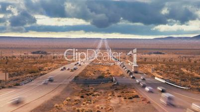 Time-lapse Traffic on Desert Highway