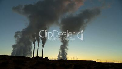 Power Station Chimneys in Silhouette