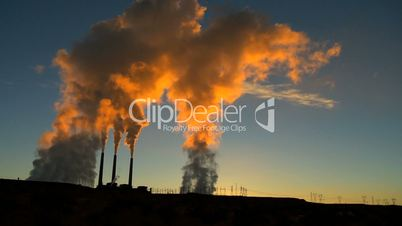 Power Station Pollution at Sunrise