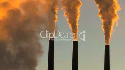 Energy production Plant Chimneys at Sunrise