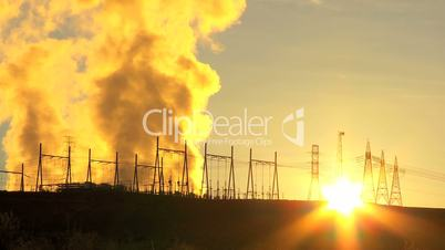 Steam at Sunrise From Energy Production Plant
