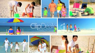 Montage of Happy Family Beach Vacations