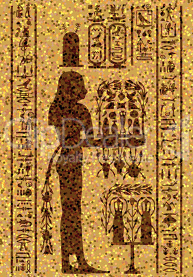 egyptian hieroglyphs and fresco