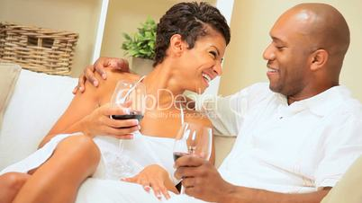 African-American Couple Enjoying a Glass of Wine