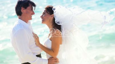 Happy Couple After Beach Wedding