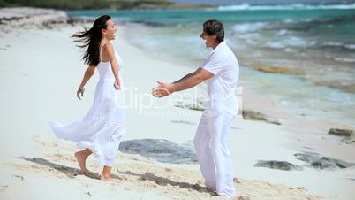 Caucasian Couple Having Vacation Fun on Hideaway Island