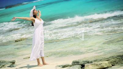 Caucasian Female Revelling in Island Lifestyle