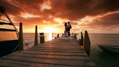 Romantic Couple in Sunset Paradise