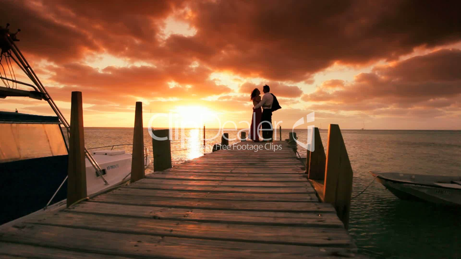 romantic couple in sunset paradise royaltyfree video and
