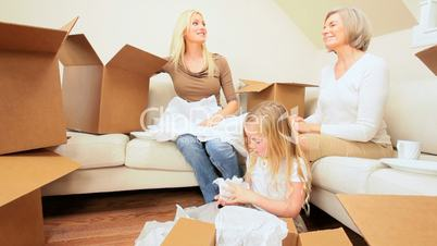 Female Family With House Move Cartons