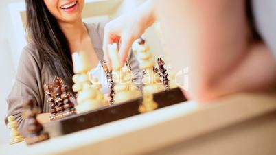 Chinese Girl in Chess Game