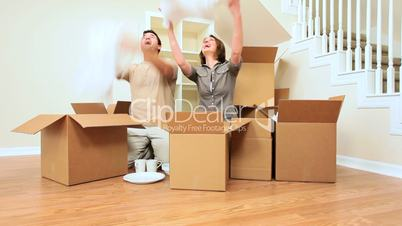 Couple Having Fun After Home Move