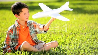 Little Caucasian Boy with Dreams of Flying