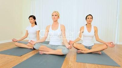 Class of Multi-Ethnic Girls in Yoga Class